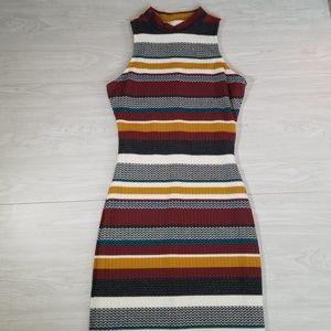 Gianni Bini Striped high neck sweater dress